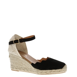 Brittany Black Espadrille Wedge Sandals