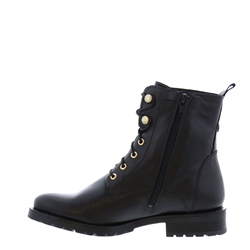 Renelle Black Leather Lace-Up Ankle Boots