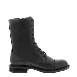 Rozlynn Black Leather Lace-Up Ankle Boots