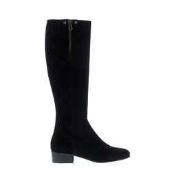 Valinda Black Suede Knee-High Boots