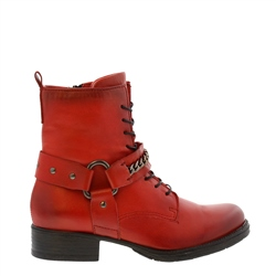 Carl Scarpa Azalea Red Leather Biker Ankle Boots