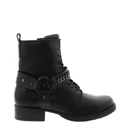 Carl Scarpa Azalea Black Leather Biker Ankle Boots