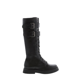 Carl Scarpa Antoinette Black Leather Lace Up Boots