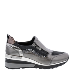Carl Scarpa Abbey Grey Metallic Wedge Trainers