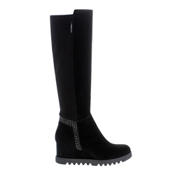 Carl Scarpa Mafalda Black Suede Knee High Boots