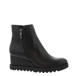 Mariah Black Leather Wedge Ankle Boots