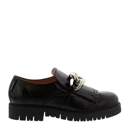 Carl Scarpa Nicole Black Patent Leather Loafers