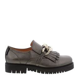 Carl Scarpa Nicole Chrome Patent Leather Loafers