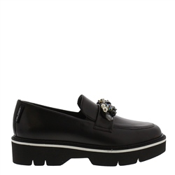 Carl Scarpa Nilah Black Leather Loafers