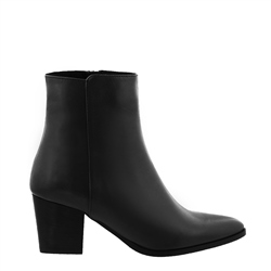 Carl Scarpa Salatina Black Leather Mid-Heel Ankle Boots