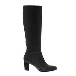 Vespera Black Leather Knee High Boots