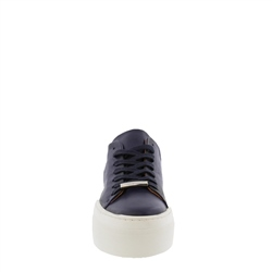 Polina Navy Leather Trainers