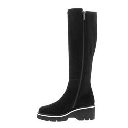Madalena Black Suede Knee-High Boots