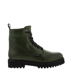 Carl Scarpa Rhaine Green Leather Lace-Up Ankle Boots