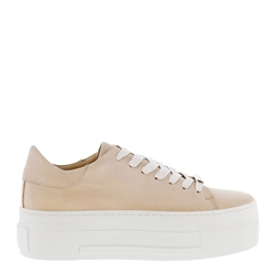 Carl Scarpa Polina Beige Leather Platform Trainers