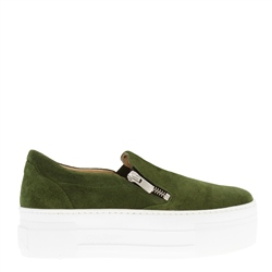 Carl Scarpa Roxanna Green Suede Platform Trainers