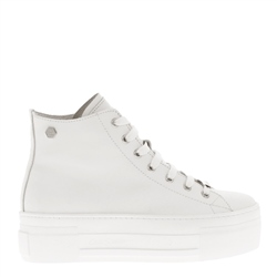Carl Scarpa Roz White Leather Platform High Top Trainers