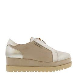 Carl Scarpa Charlize Gold Leather and Suede Flatform Trainers