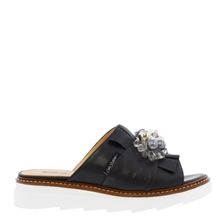 Carl Scarpa Valencia Navy Leather Embellished Sandals