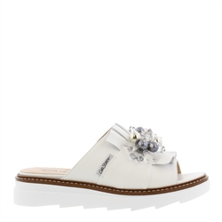 Carl Scarpa Valencia White Leather Embellished Sandals