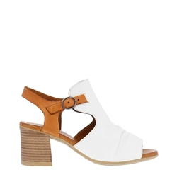 Carl Scarpa Novalie White and Tan Leather Block-Heel Sandals