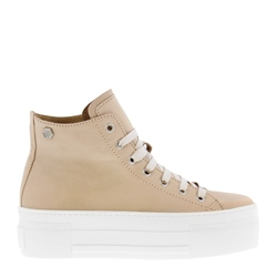 Carl Scarpa Roz Beige Leather Platform High Top Trainers
