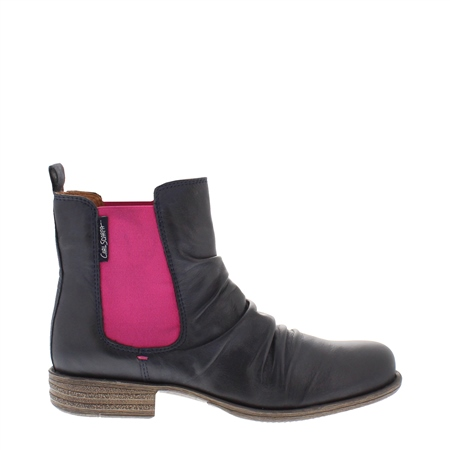 Navy/Pink Ruched Chelsea Ankle Boots - Cavalina  - Click to view a larger image