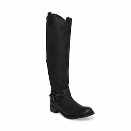 0eb7079ab2b Black Flat Knee Boots - Farah