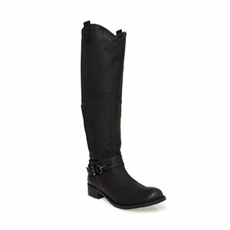 Black Flat Knee Boots - Farah  - Click to view a larger image