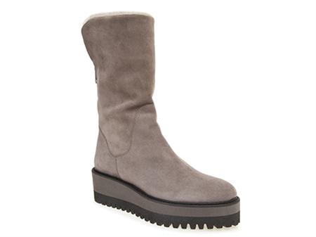 Grey Wedge Mid-Calf Boots - Corinna