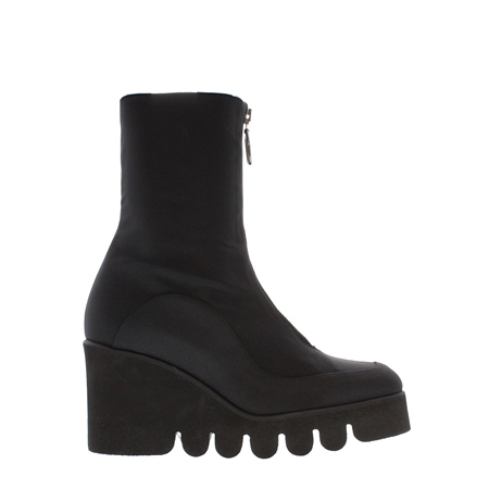 Black Platform Wedge Mid-Calf Ankle Boots - Marilyn  - Click to view a larger image