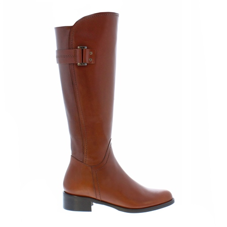 Cognac Flat Knee Boots - Abigail  - Click to view a larger image
