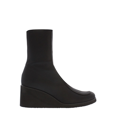 Black Wedge Mid-Calf Ankle Boots - Martina  - Click to view a larger image