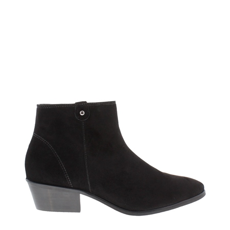 Black Low Heel Suede Ankle Boots - Serena  - Click to view a larger image