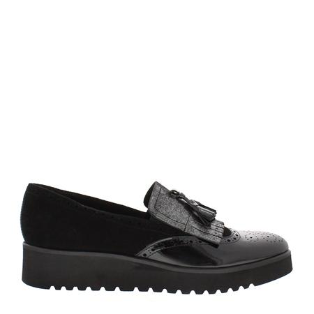 Black Flatform Slip-On Fringe Tassel Loafers - Ornella  - Click to view a larger image