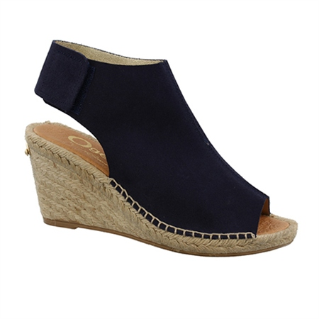 Navy Wedge Peep Toe Espadrille Sandals - Blaine  - Click to view a larger image