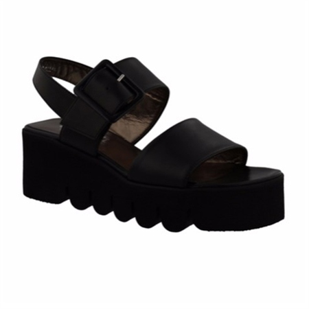 Black Flatform Wedge Sandals - Melinda  - Click to view a larger image