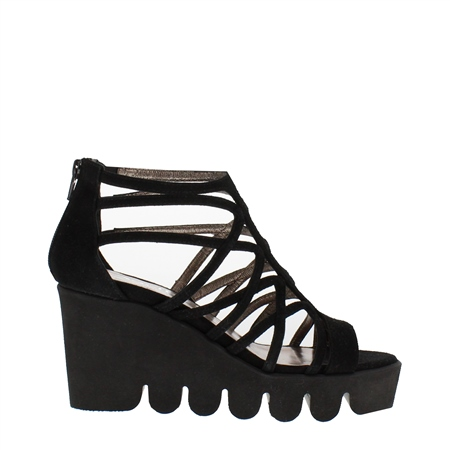 Black Wave Sole Wedge Sandals - Melita  - Click to view a larger image