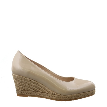 Nude Slip-On Wedge Espadrille Sandals - Valeria  - Click to view a larger image