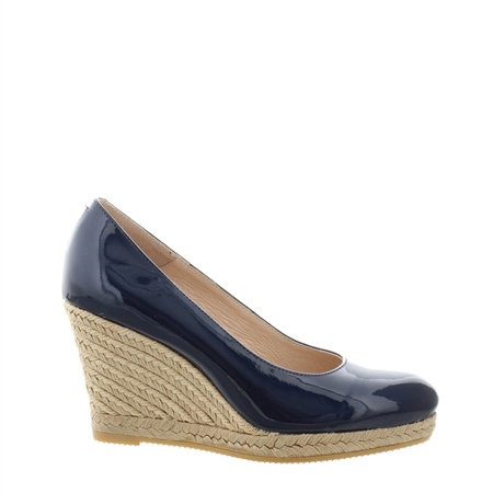 Vanetia Navy Slip-On Wedge Espadrille Courts  - Click to view a larger image