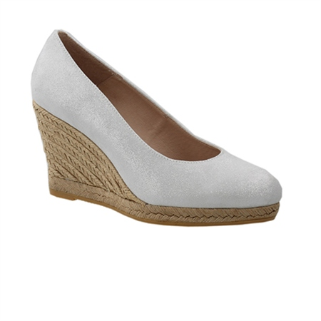 Vanetia Silver Slip-On Wedge Espadrille Courts  - Click to view a larger image