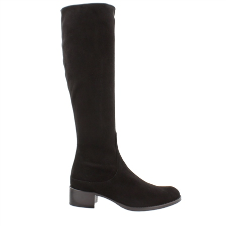 Black Mid Heel Knee Boots - Eliza  - Click to view a larger image