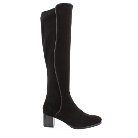 Ella Black Mid Heel Knee Boots  - Click to view a larger image