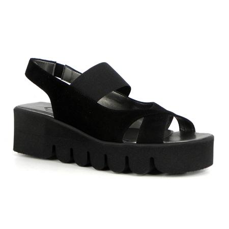 Black Flatform Wave Sole Sandals - Marea  - Click to view a larger image