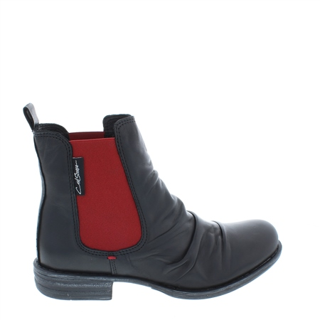 Black/Red Ruched Chelsea Ankle Boots - Cavalina  - Click to view a larger image