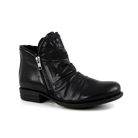 Black Flat Ruched Ankle Boots - Natalia  - Click to view a larger image