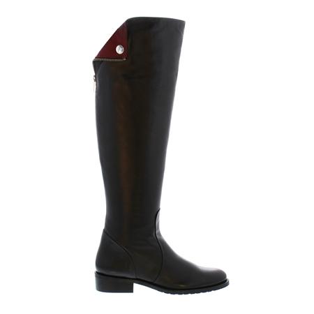 Black Flat Knee Boots - Arabella