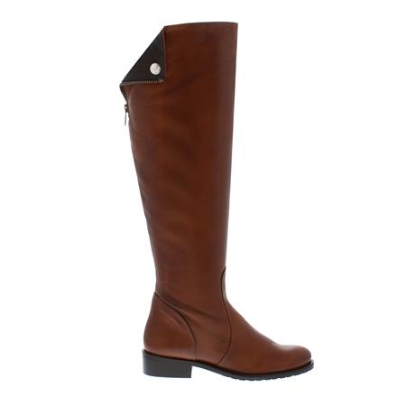 Tan Flat Knee Boots - Arabella