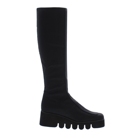 Angy Black Wedge Knee Boots  - Click to view a larger image