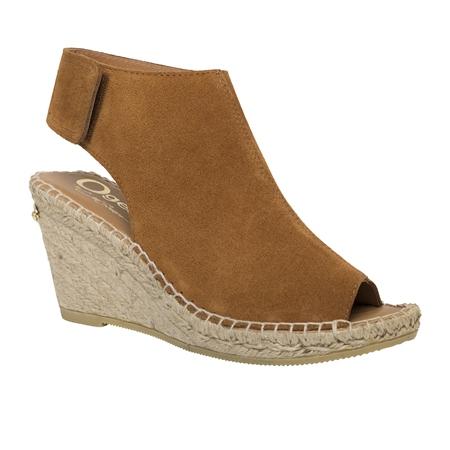Cognac Wedge Peep Toe Espadrille Sandals - Blaine